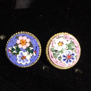 Jewelry - Vintage lot x 2 Italian micro mosaic floral pins